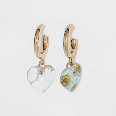 Daisy Floral Heart Hoop Earrings - Wild Fable™ White