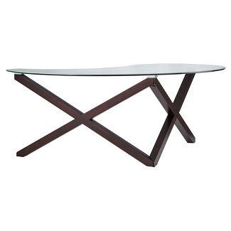 Alcala Contemporary Glass Top Cocktail Table - Espresso - Inspire Q