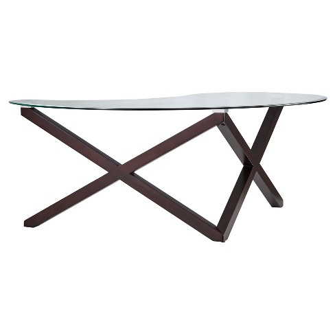 Alcala Contemporary Glass Top Cocktail Table - Espresso - Inspire Q - image 1 of 7