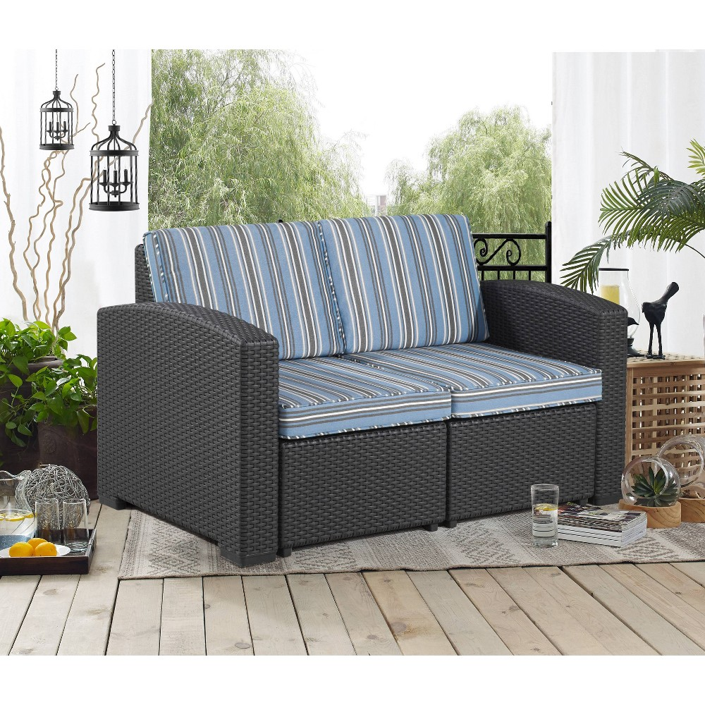 Image of Palm Bay Outdoor Patio Loveseat Stripped - Relax-A-Lounger