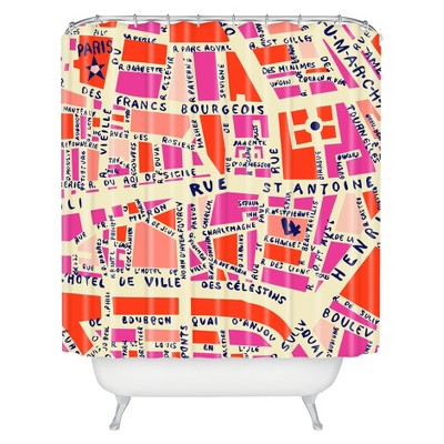 Paris Map Shower Curtain Pink - Deny Designs