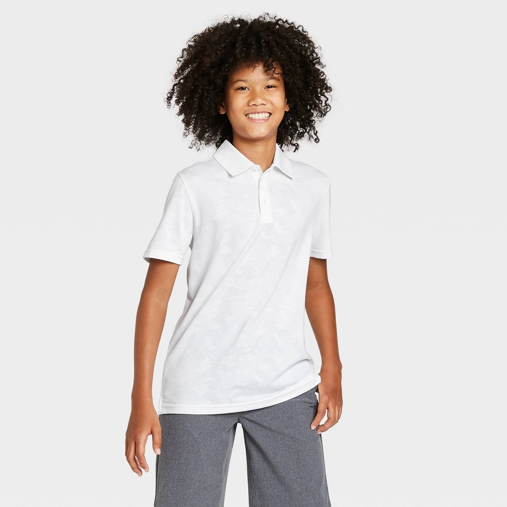 Image of Boys' Camo Print Golf Polo Shirt - All in Motion True White L, Boy's, Size: Large