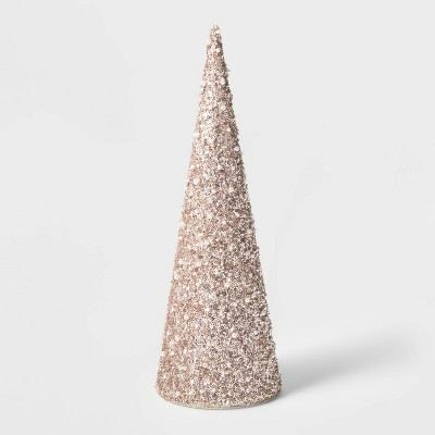 Large Sequin Tree Cone with Beads Decorative Figurine Champagne - Wondershop™