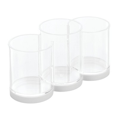 mDesign Plastic Makeup Organizer Cup with 3 Sections