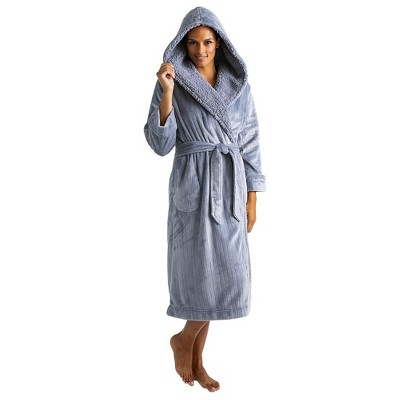Softies Women's Hooded Sherpa Robe with Tonal Trim