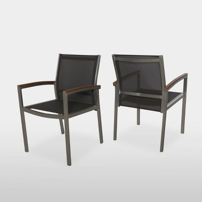 Luton 2Pk Mesh and Aluminum Dining Chair - Silver - Christopher Knight Home