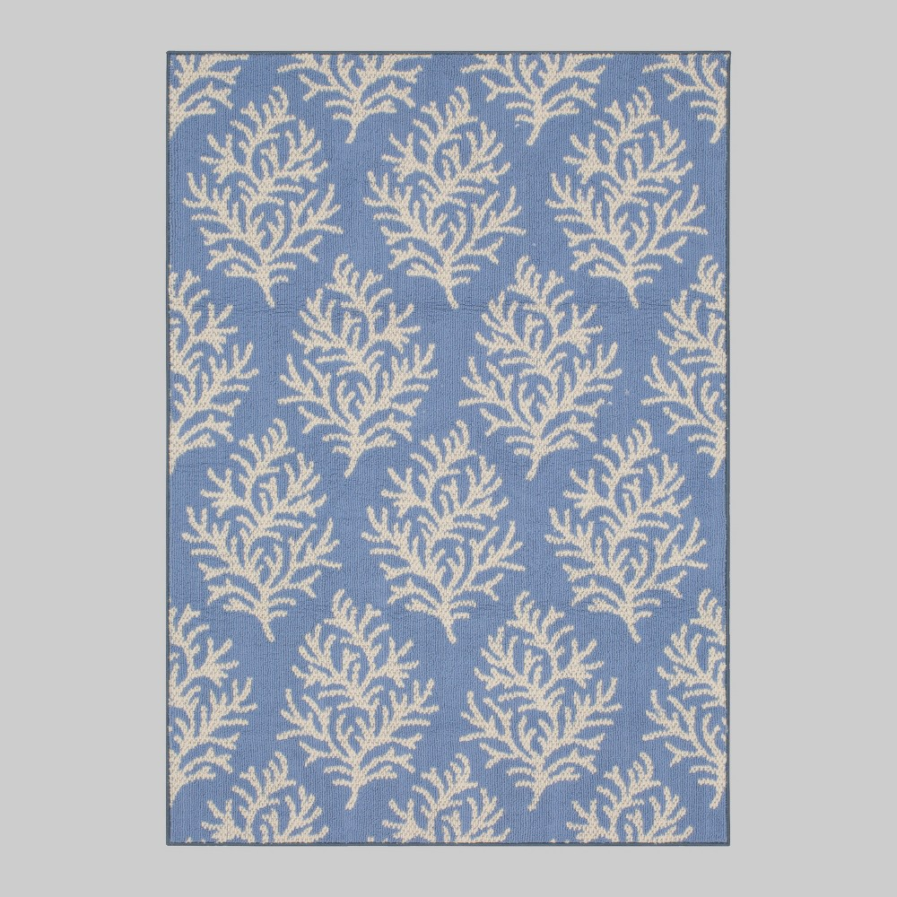 7' x 10' Coral Outdoor Rug Blue - Threshold