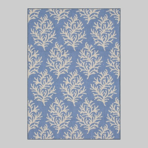 7' X 10' Coral Outdoor Rug Blue