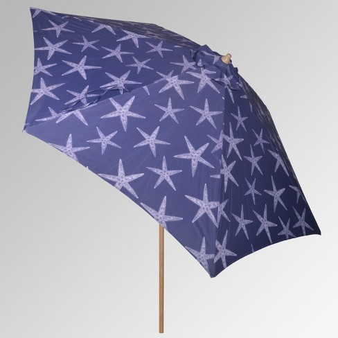 9' Round Patio Umbrella - Starfish - Light Wood Pole - Threshold™ - image 1 of 3