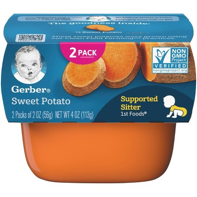 Gerber Supported Sitter 1st Foods Sweet Potato Baby Meals - 2ct/2oz Each
