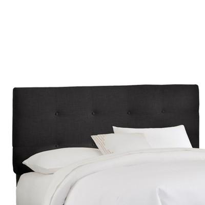 Queen Dolce Metallic Upholstered Headboard Black Linen - Skyline Furniture