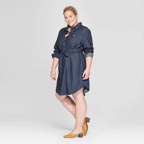 Womens Plus Size Denim Shirt Dress Universal Thread Dark Wash 2x