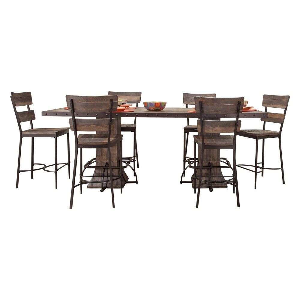 Jennings 7pc Dining Set With Rectangle counter height table & six chairs - Hillsdale Furniture, Brown