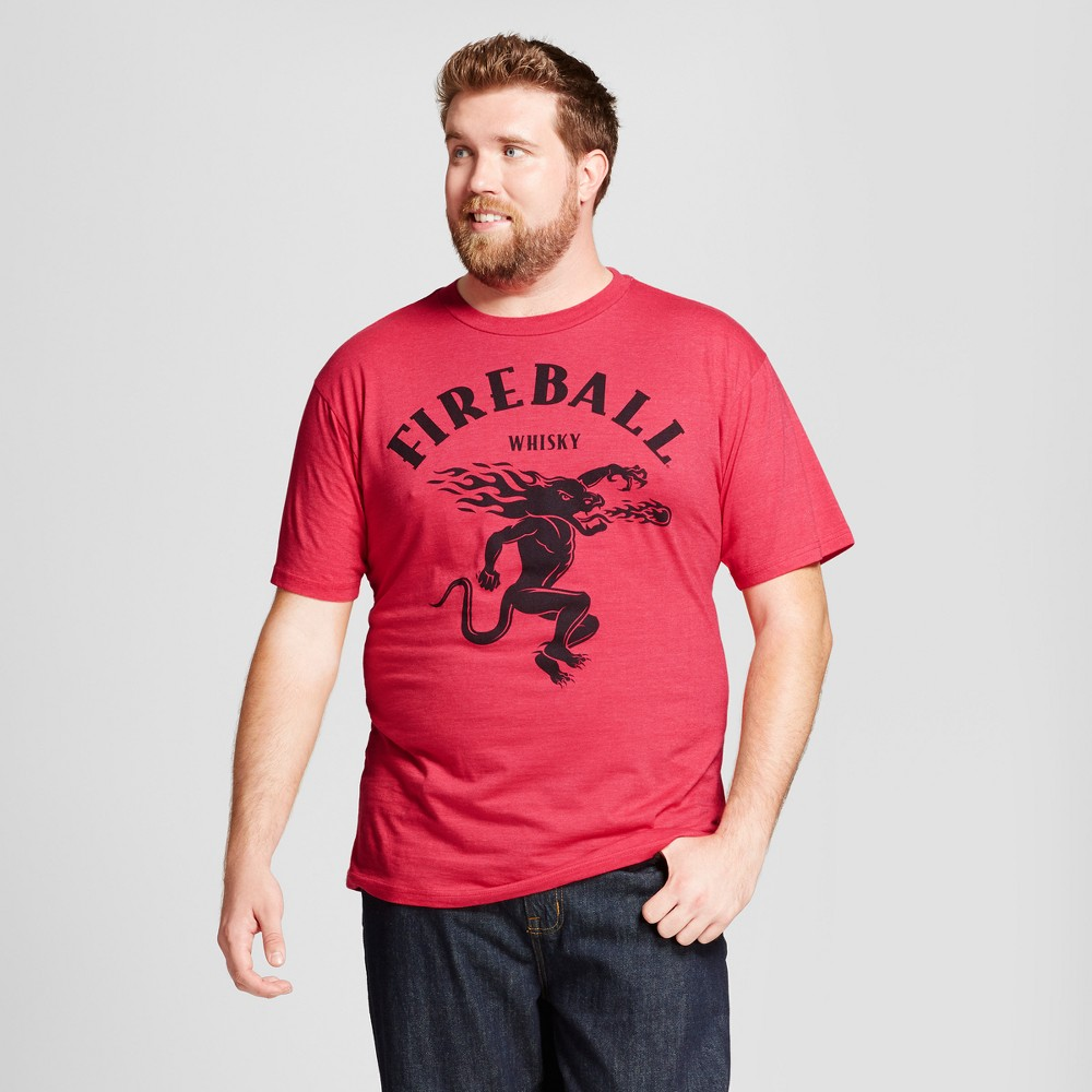 Men's Big & Tall Fireball Logo Graphic T- Shirt - Red Heather 4XLT