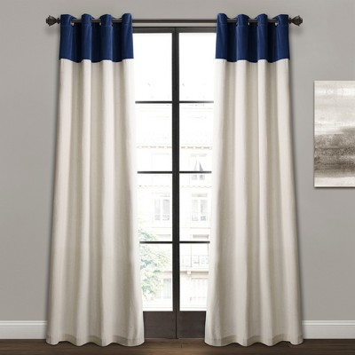 84  x 52  Milo Linen Window Curtain Panels Navy/Off White -Lush Decor