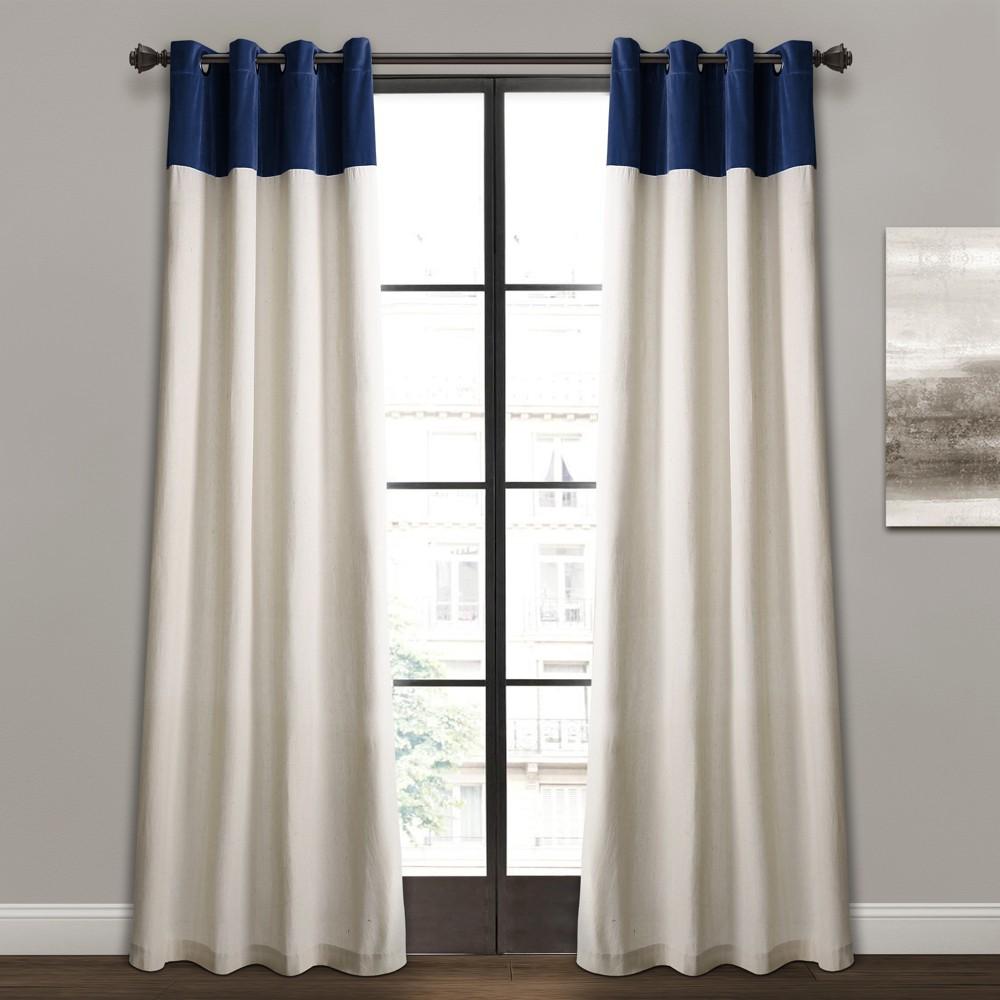 """84""""x52"""" Milo Linen Window Curtain Panels /Off White -Lush Décor"""