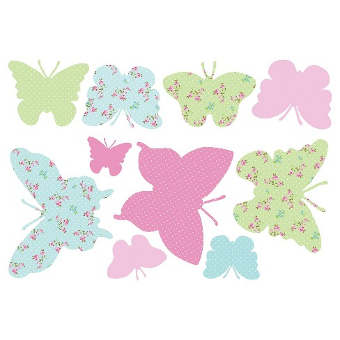 WallPops!® Butterflies Maxi Stickers - Pink/Green - image 1 of 2