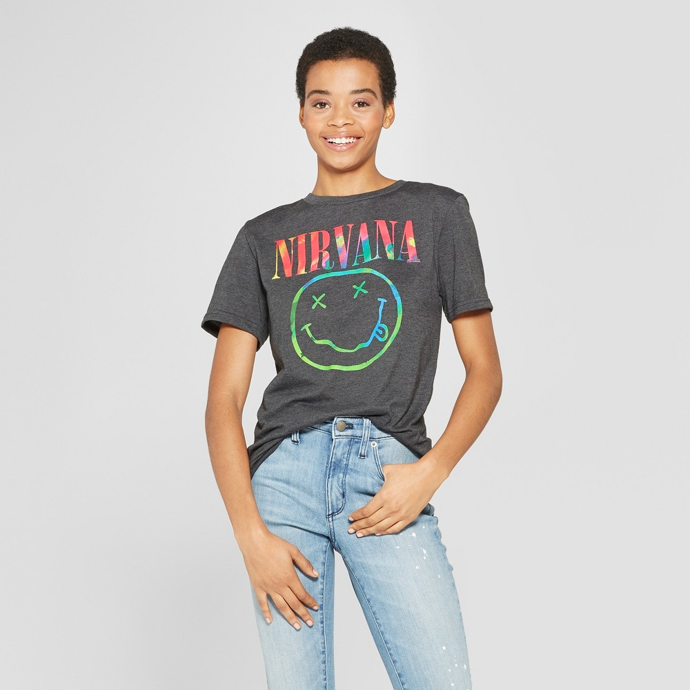 Image of Women's Nirvana Neon Smile Short Sleeve Boyfriend T-Shirt - (Juniors') - Black L, Size: Large