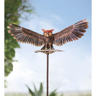 Wind & Weather Handcrafted Bronze-Colored Metal Owl Garden Sculpture on Stake