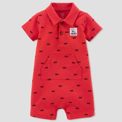 Baby Boys' 1pc Firetruck Polo Romper - Just One You® made by carter's Red 6M