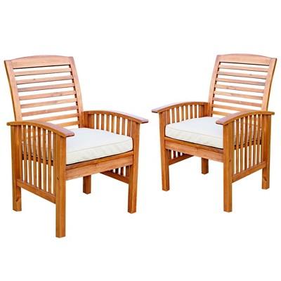 Acacia Patio Chairs with Cushions - Set of 2 - Brown - Saracina Home