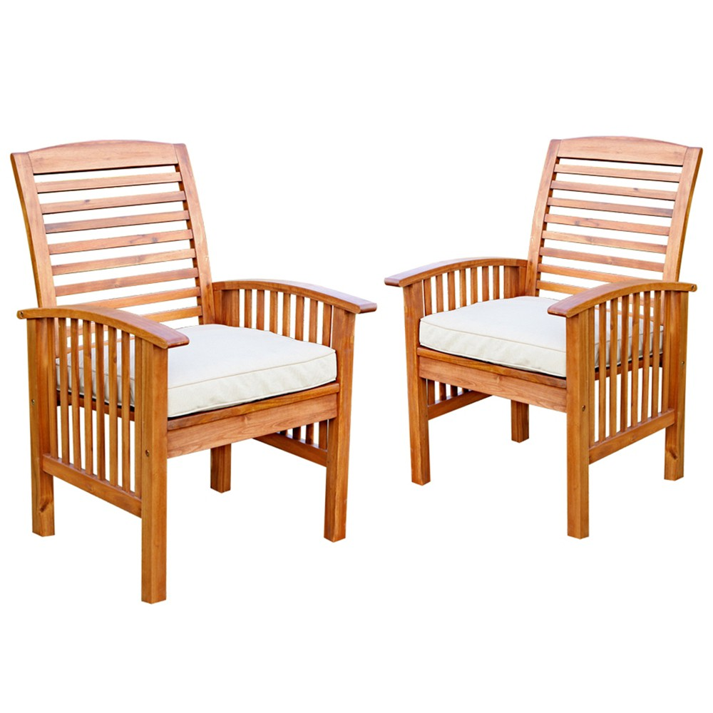 Acacia Patio Chairs with Cushions - Set of 2 - Brown - Saracina Home