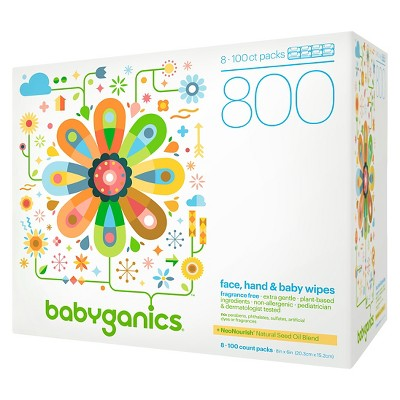 Babyganics Face, Hand & Baby Wipes, Fragrance Free - 800ct