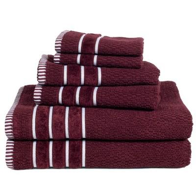 6pc Combed Cotton Bath Towel Set Burgundy - Yorkshire Home