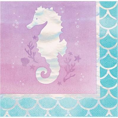 48ct Mermaid Print Beverage Napkins
