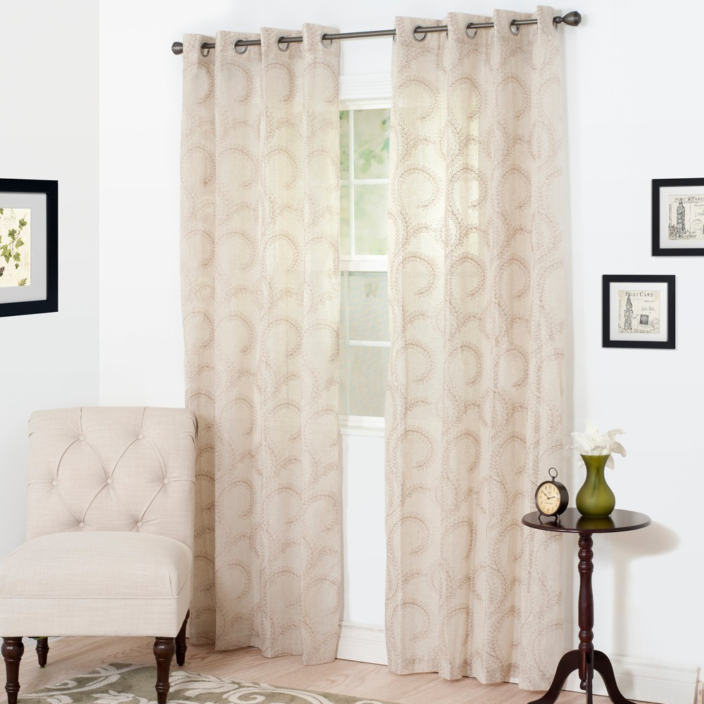 Yorkshire Home Andrea Embroidered Curtain Panel - Taupe (Brown) (95)