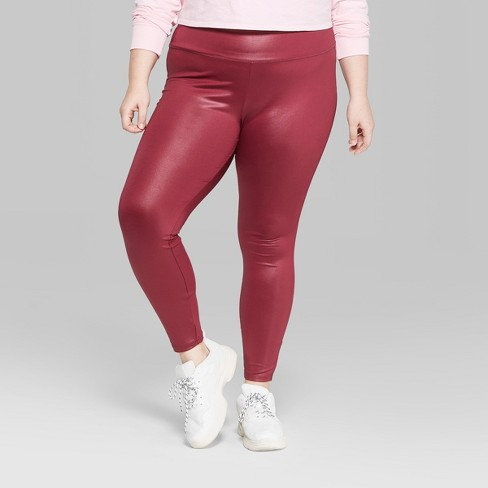 59263a122f09c Women s Plus Size High-Waist Faux Leather Leggings - Wild Fable™ Maroon    Target