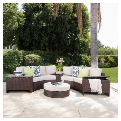 Madras Tortuga 8pc Wicker 1/2 Round Seating Set With Ice Bucket Ottoman - Brown/Beige - Christopher Knight Home