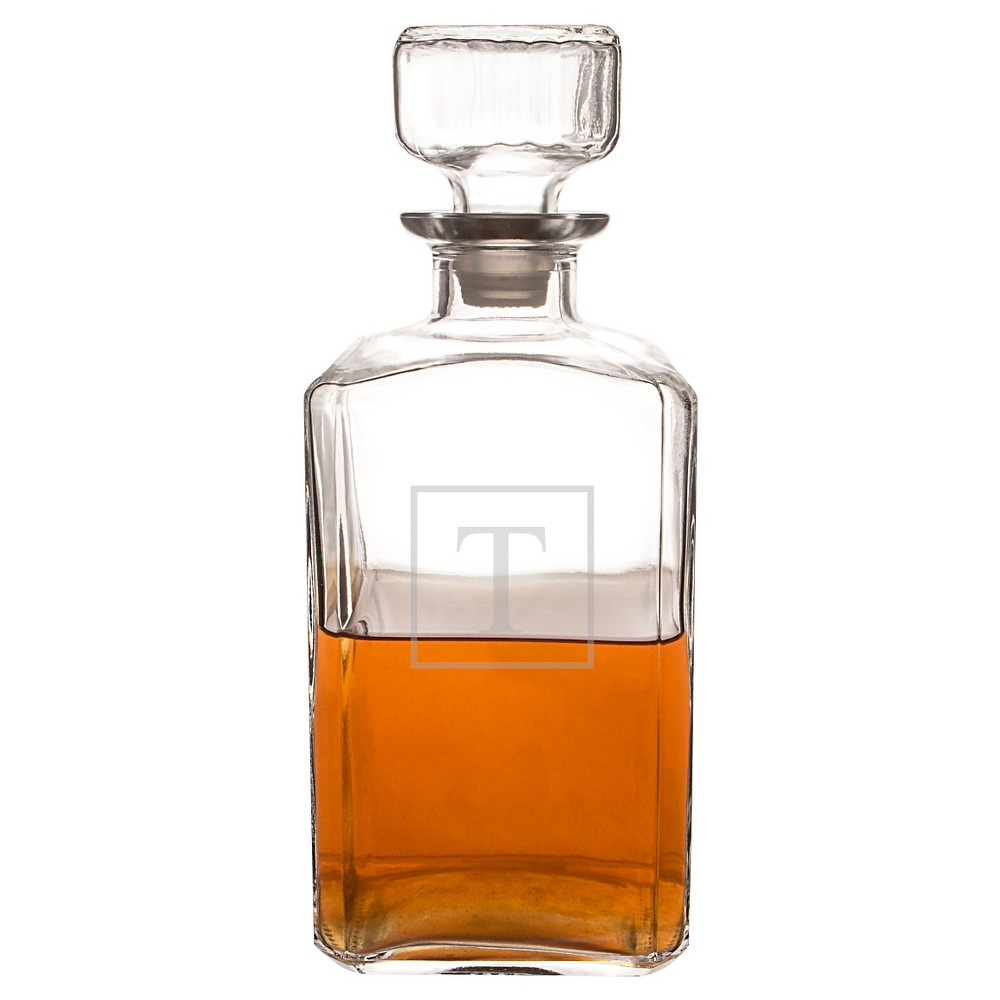 Personalized Glass Decanter - T, Clear