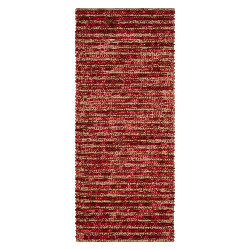 2'6X6' Stripe Runner Red - Safavieh, Red/Multi-Colored
