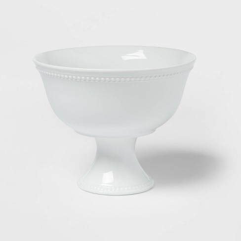 80oz Porcelain Beaded Footed Serving Bowl White  - Threshold™ - image 1 of 3