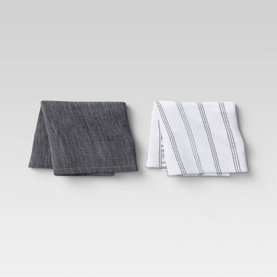 2pk Cotton Fringed Striped Chambray Woven Kitchen Towels Black - Threshold™