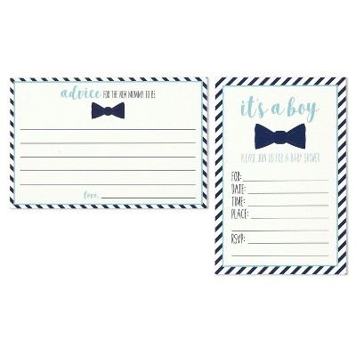 Juvale 32-PACK BABY BOY SHOWER INVITE SET - 16 INVITES AND 16 ADVICE CARDS - ENVELOPES INCLUDED, 4 X 6 INCHES