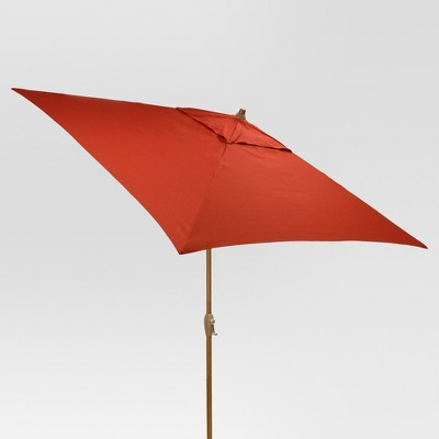 6.5' Square Umbrella - Red - Medium Wood Finish - Threshold™