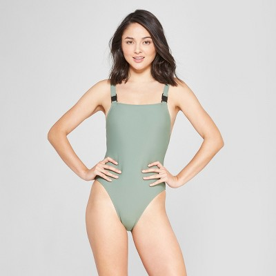 a2bfa317c6a50 Womens Buckle Strap Scoop Back One Piece Swimsuit - Xhilaration™ Olive M