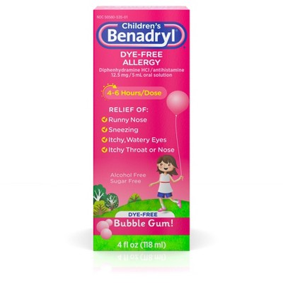 Children's Benadryl Dye-Free Allergy Relief Liquid - Bubble Gum - Diphenhydramine - 4 fl oz