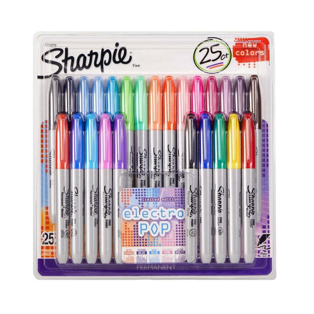 Image of Sharpie 25pk Electro Pop Permanent Markers Multicolor