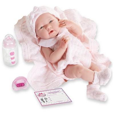 "JC Toys La Newborn 15"" Girl Doll - Pretty in Pink Knit Blanket Set"