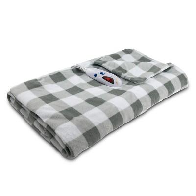 "Microplush Electric Throw (62""x50"") Gray & White Buffalo Check - Biddeford Blankets"