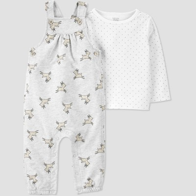 Baby Girls' 2pc Reindeer Overall Top & Bottom Set - Just One You® made by carter's Gray 6M