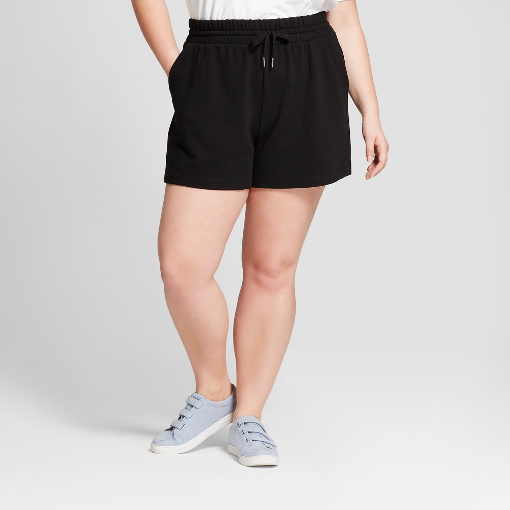Women's Plus Size French Terry Shorts - A New Day Black 1X