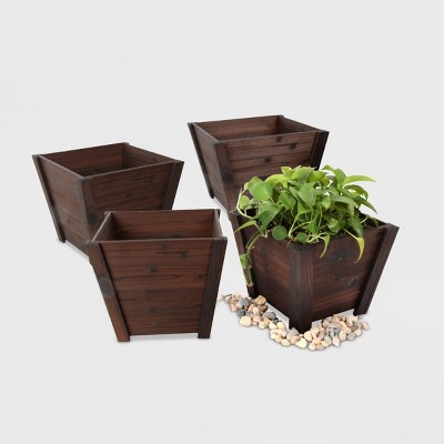 4pc Square Tapered Wooden Planters Brown - Leisure Season