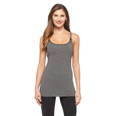 Women's Nursing Cotton Cami Dark Gray Stripe M - Gilligan & O'Malley™