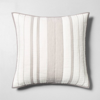 Woven Stripes Pillow Sham Jet Gray - Hearth & Hand™ with Magnolia