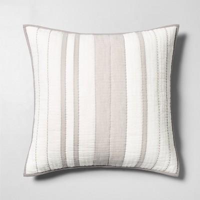 Euro Pillow Sham Woven Stripe Jet Gray - Hearth & Hand™ with Magnolia