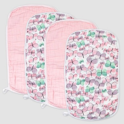 Honest Baby Girls' 4pk Organic Cotton Flutter Burp Cloth